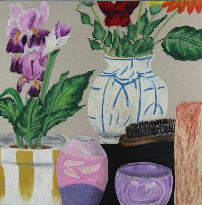 Still-life drawings by Belmont Secondary art 11/12 students
