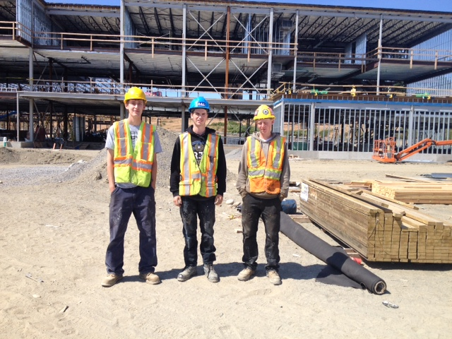 Trades Awareness Skills and Knowledge students, left, Jeff Smith, middle, Will Clearwater, and right, Brennan McEwan, are working on the construction of the Royal Bay Secondary School in Colwood.